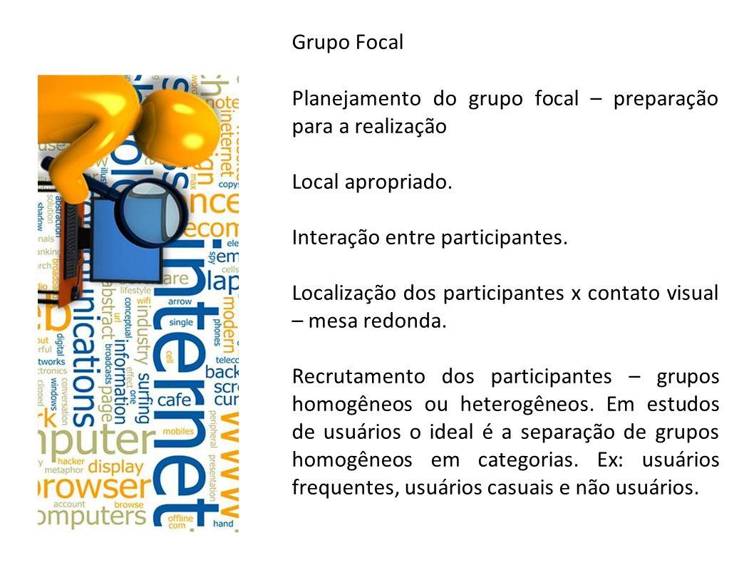 Grupo Focal Planejamento do grupo focal – preparação para a realização. Local apropriado. Interação entre participantes.