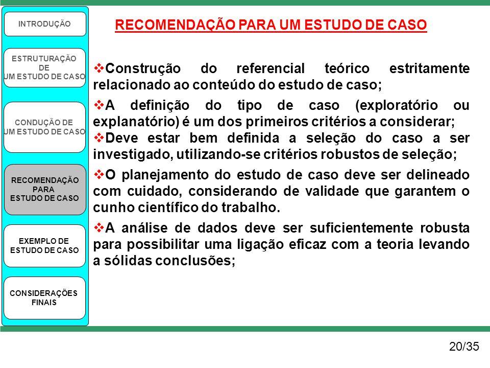 RECOMENDAÇÃO PARA UM ESTUDO DE CASO