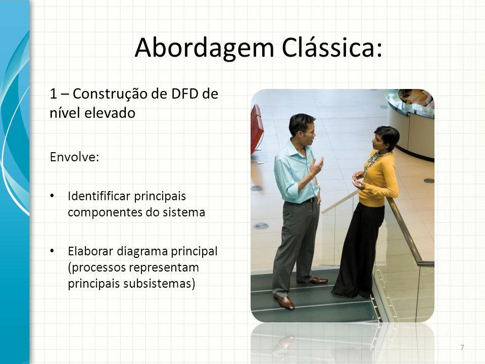 Abordagem Clássica: 1 – Construção de DFD de nível elevado Envolve:
