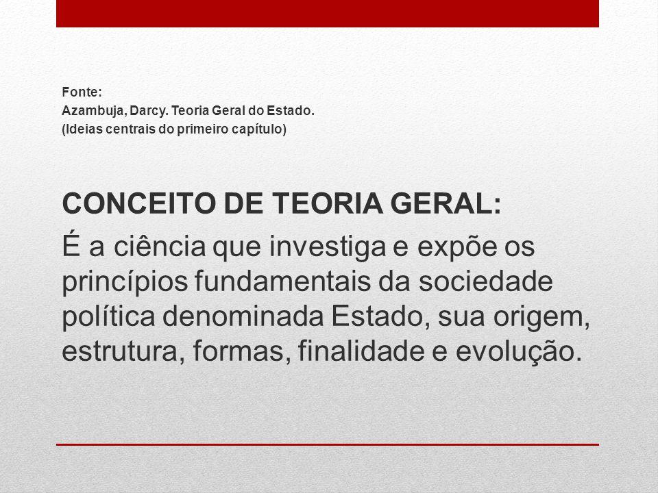CONCEITO DE TEORIA GERAL: