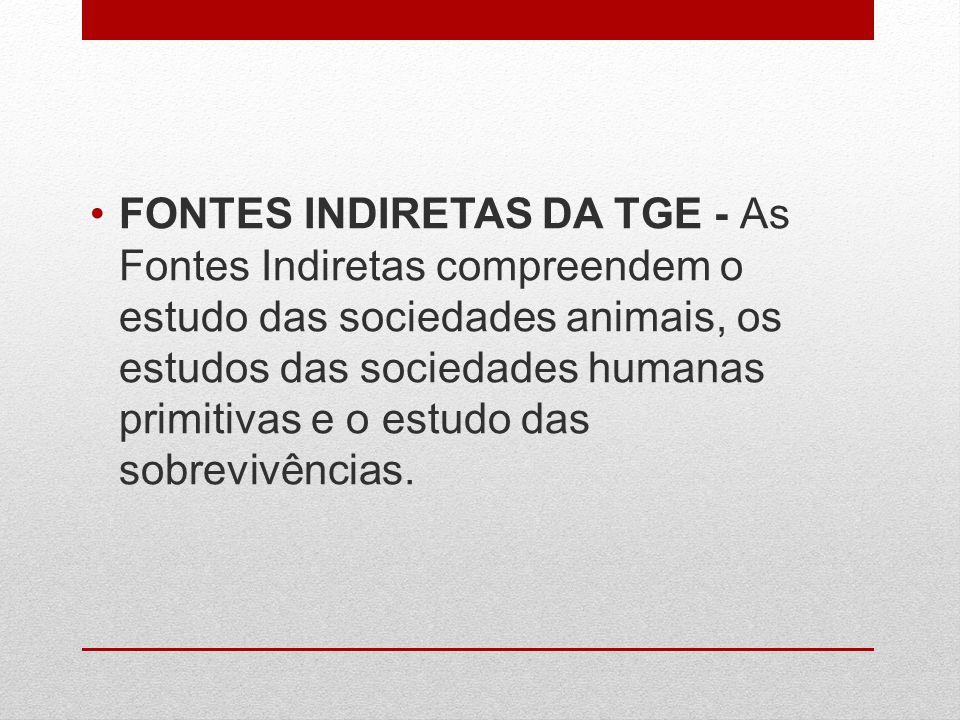 FONTES INDIRETAS DA TGE - As Fontes Indiretas compreendem o estudo das sociedades animais, os estudos das sociedades humanas primitivas e o estudo das sobrevivências.