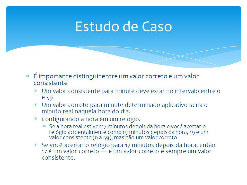 Estudo de Caso É importante distinguir entre um valor correto e um valor consistente.