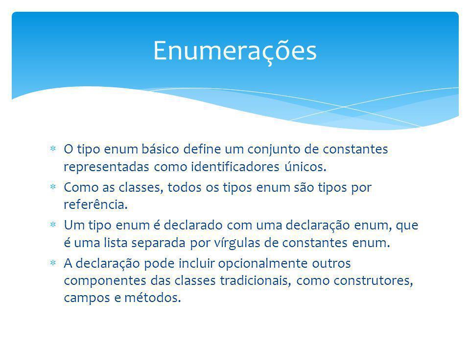 Enumerações O tipo enum básico define um conjunto de constantes representadas como identificadores únicos.