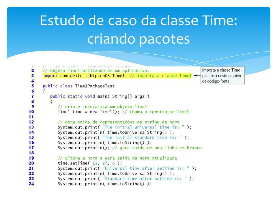 Estudo de caso da classe Time: criando pacotes