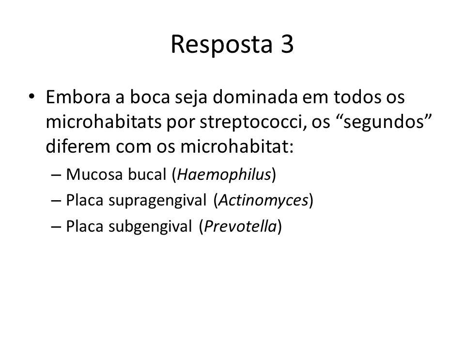 Resposta 3 Embora a boca seja dominada em todos os microhabitats por streptococci, os segundos diferem com os microhabitat: