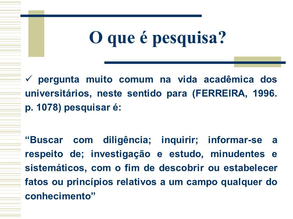 O que é pesquisa pergunta muito comum na vida acadêmica dos universitários, neste sentido para (FERREIRA, 1996. p. 1078) pesquisar é: