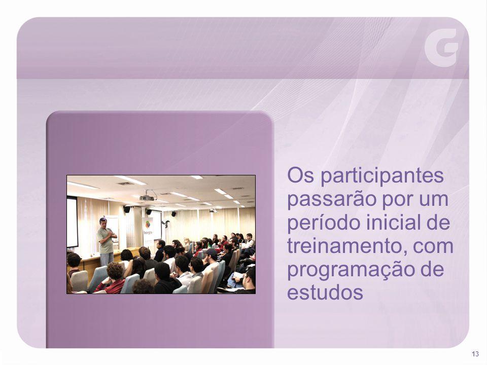 Os participantes passarão por um período inicial de treinamento, com programação de estudos
