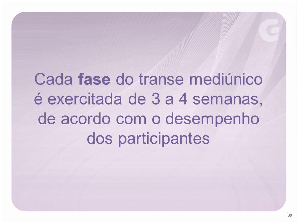 Cada fase do transe mediúnico é exercitada de 3 a 4 semanas,