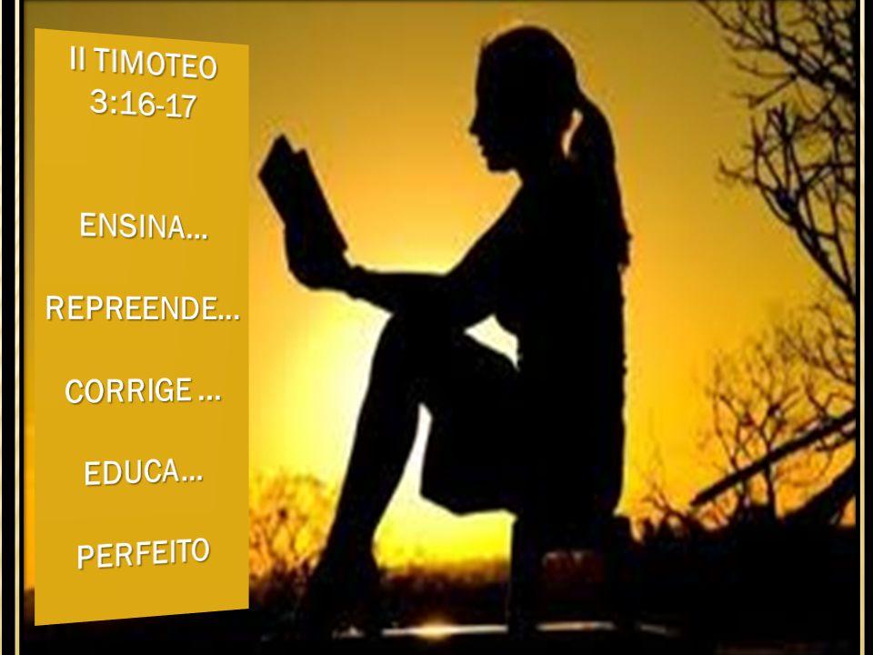 II TIMOTEO 3:16-17 ENSINA... REPREENDE... CORRIGE ... EDUCA... PERFEITO