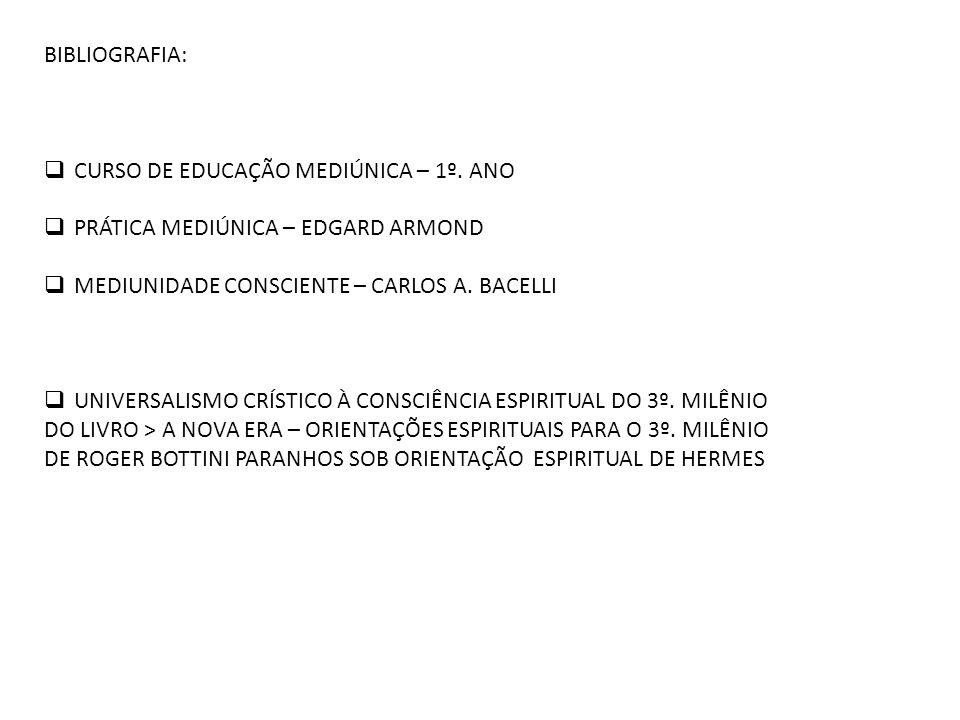 BIBLIOGRAFIA: CURSO DE EDUCAÇÃO MEDIÚNICA – 1º. ANO. PRÁTICA MEDIÚNICA – EDGARD ARMOND. MEDIUNIDADE CONSCIENTE – CARLOS A. BACELLI.