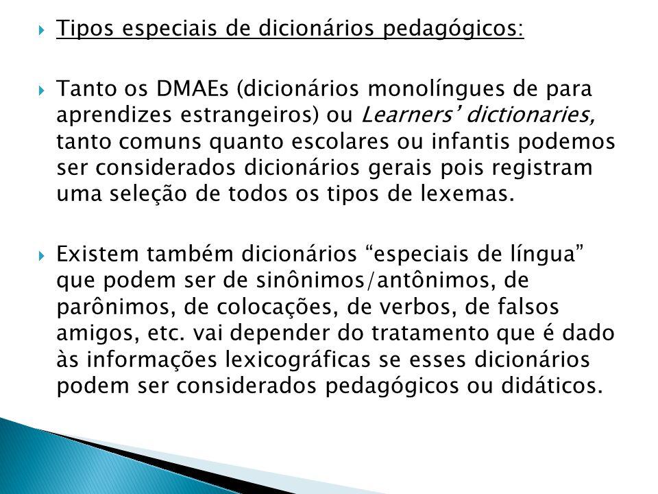 Tipos especiais de dicionários pedagógicos: