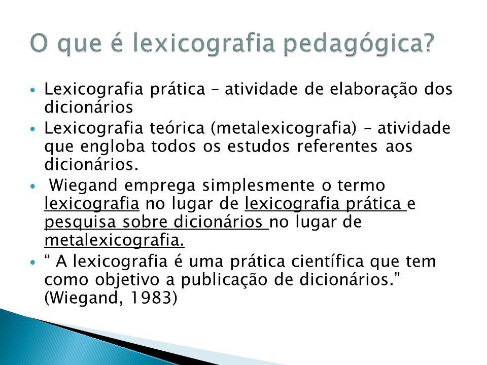 O que é lexicografia pedagógica