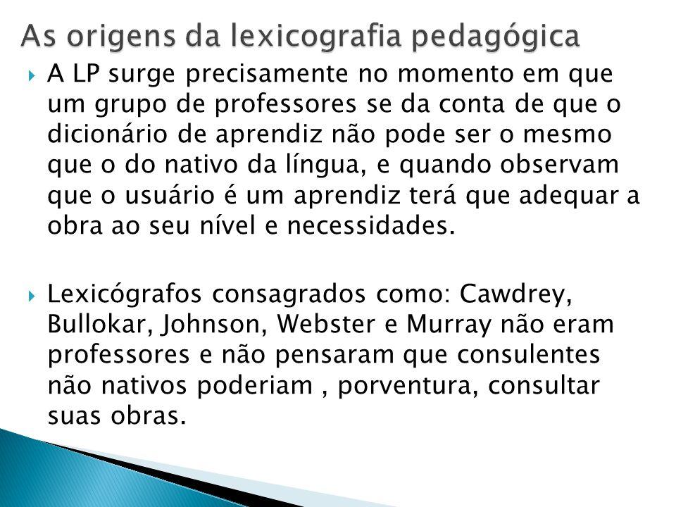 As origens da lexicografia pedagógica