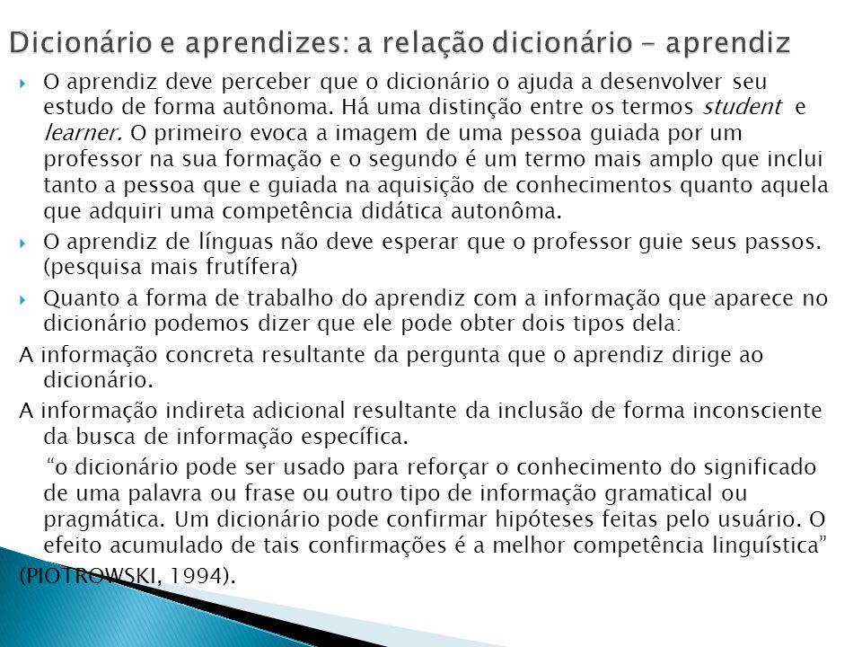 Dicionário e aprendizes: a relação dicionário - aprendiz