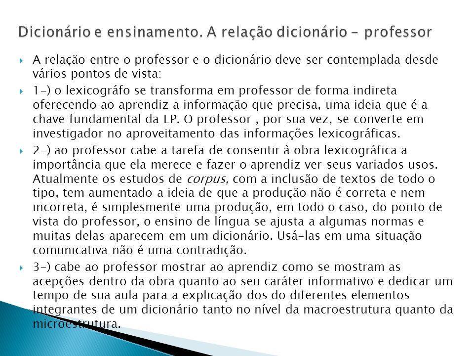 Dicionário e ensinamento. A relação dicionário - professor