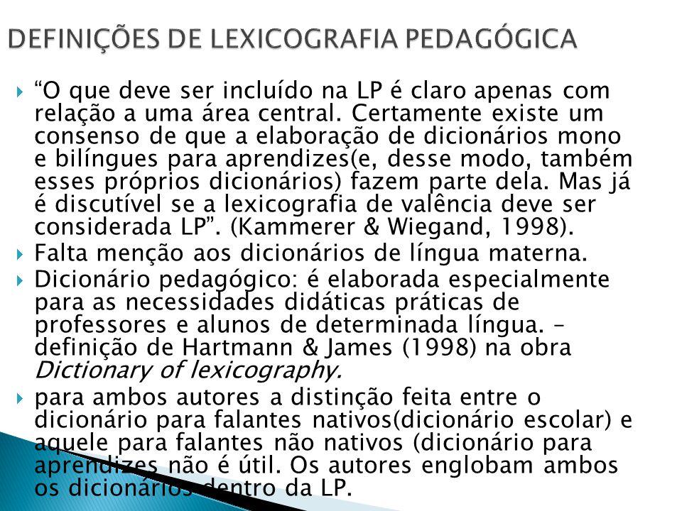 DEFINIÇÕES DE LEXICOGRAFIA PEDAGÓGICA