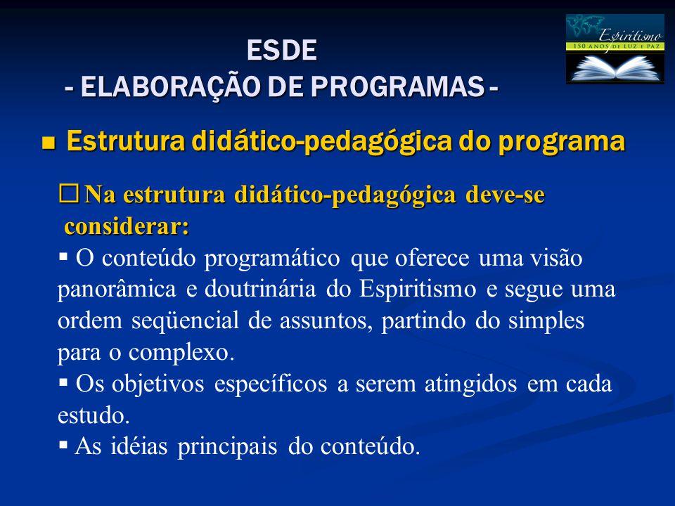 Estrutura didático-pedagógica do programa