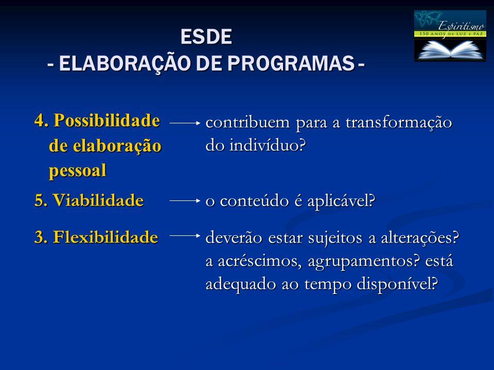 4. Possibilidade de elaboração. pessoal. contribuem para a transformação do indivíduo 5. Viabilidade.