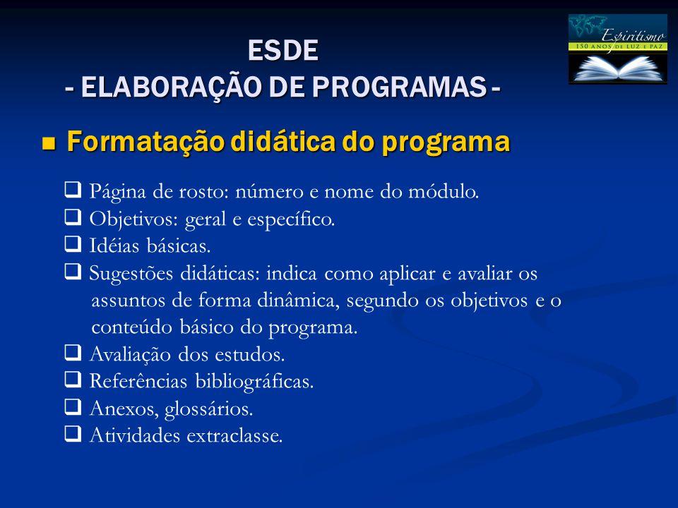Formatação didática do programa
