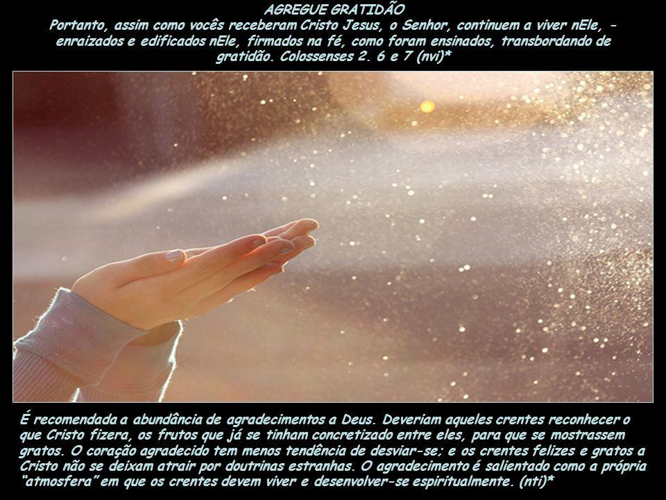 AGREGUE GRATIDÃO Portanto, assim como vocês receberam Cristo Jesus, o Senhor, continuem a viver nEle, - enraizados e edificados nEle, firmados na fé, como foram ensinados, transbordando de gratidão. Colossenses 2. 6 e 7 (nvi)*