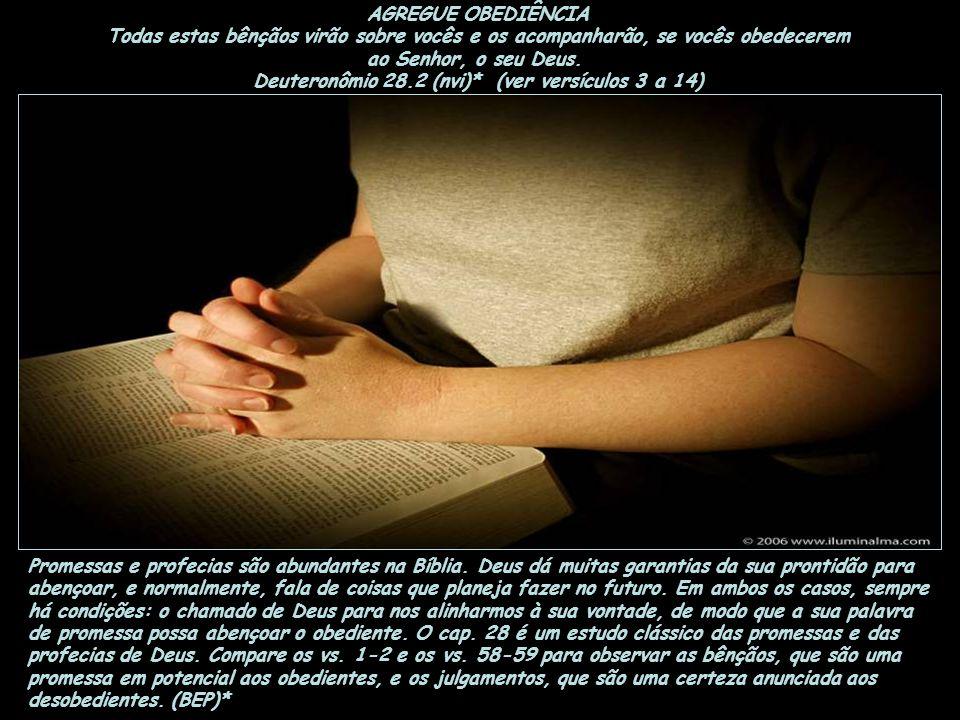 AGREGUE OBEDIÊNCIA Todas estas bênçãos virão sobre vocês e os acompanharão, se vocês obedecerem