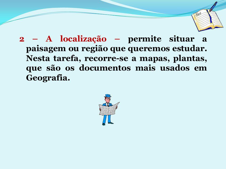 2 – A localização – permite situar a paisagem ou região que queremos estudar.
