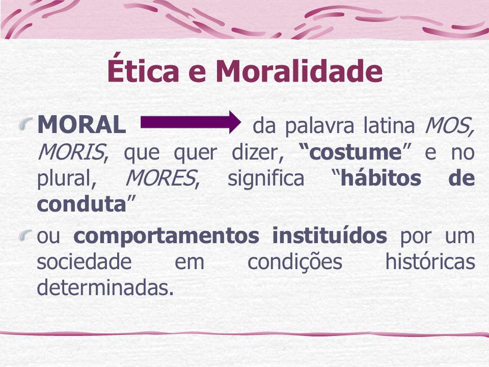Ética e Moralidade MORAL da palavra latina MOS, MORIS, que quer dizer, costume e no plural, MORES, significa hábitos de conduta