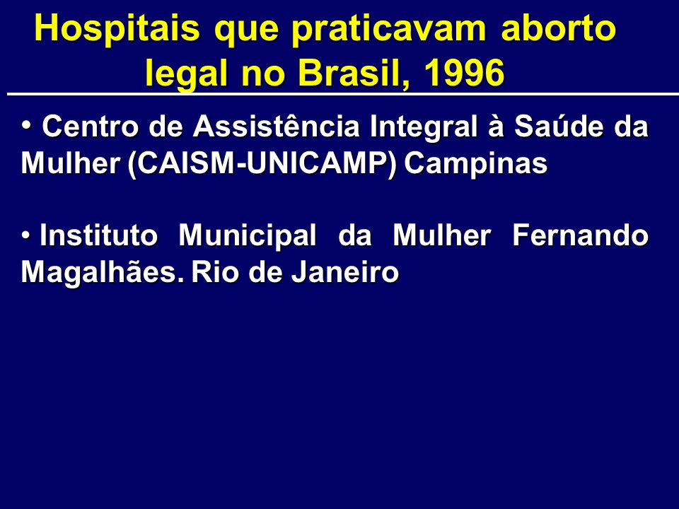 Hospitais que praticavam aborto legal no Brasil, 1996