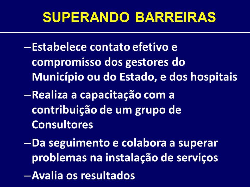 SUPERANDO BARREIRAS Estabelece contato efetivo e compromisso dos gestores do Município ou do Estado, e dos hospitais.