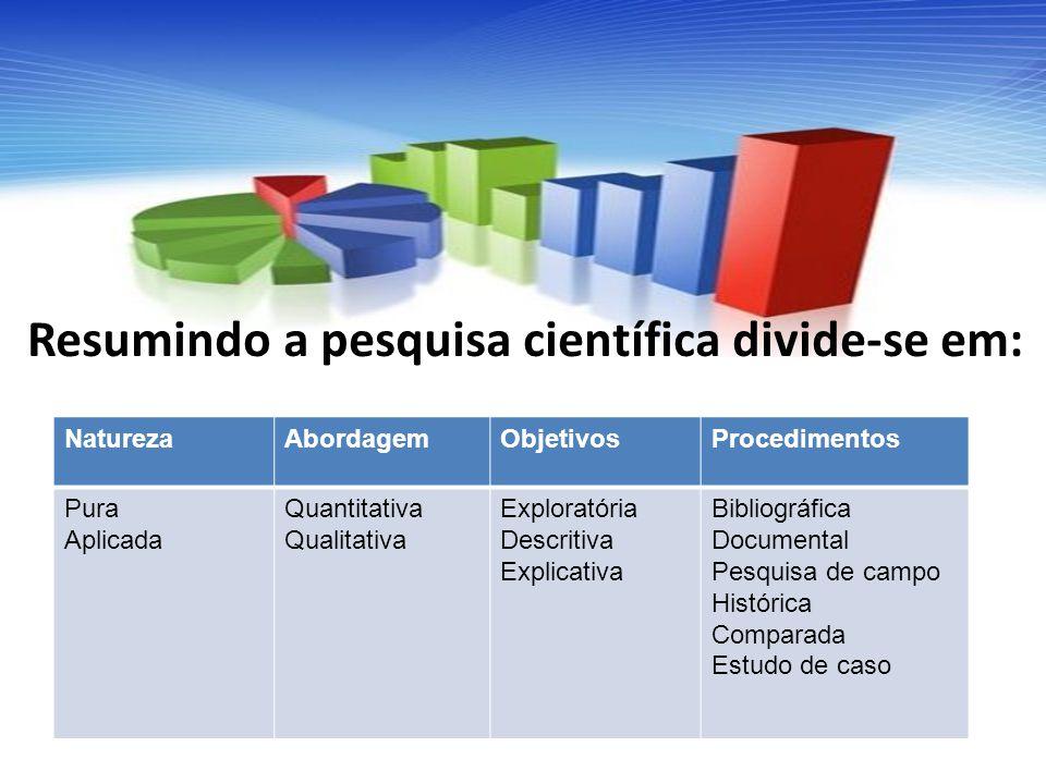 Resumindo a pesquisa científica divide-se em: