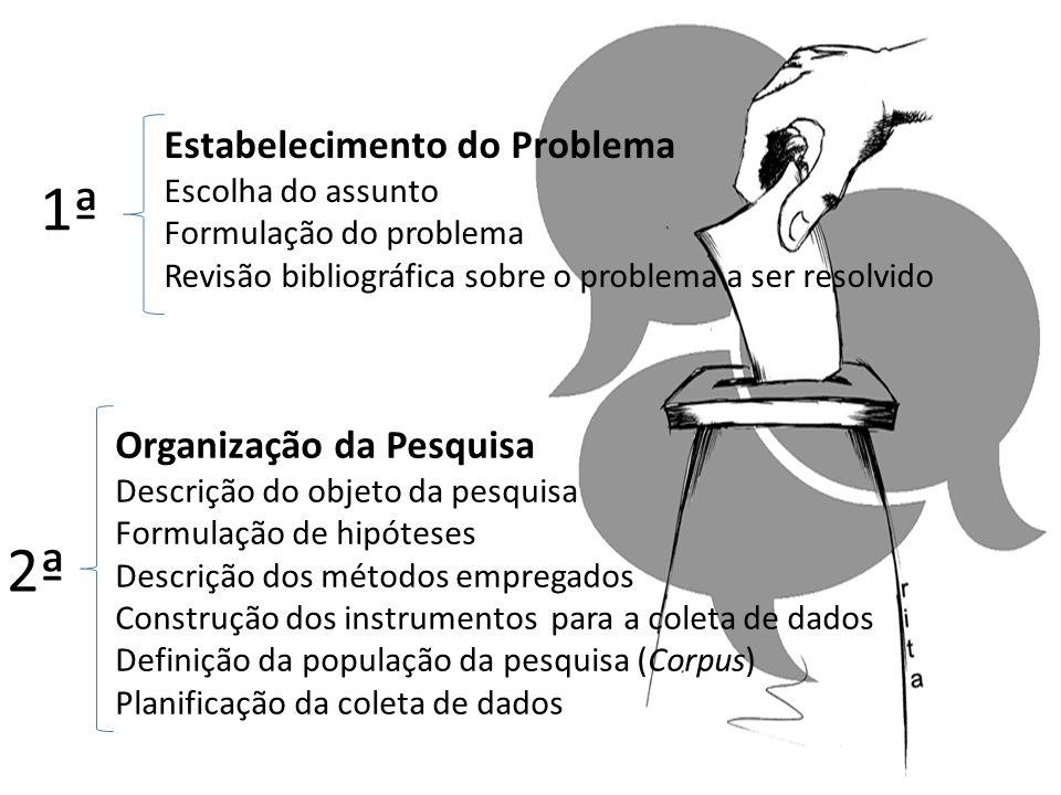 1ª 2ª Estabelecimento do Problema Organização da Pesquisa