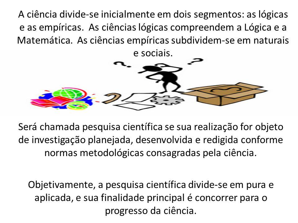 A ciência divide-se inicialmente em dois segmentos: as lógicas e as empíricas. As ciências lógicas compreendem a Lógica e a Matemática. As ciências empíricas subdividem-se em naturais e sociais.