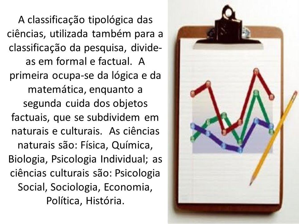 A classificação tipológica das ciências, utilizada também para a classificação da pesquisa, divide-as em formal e factual.