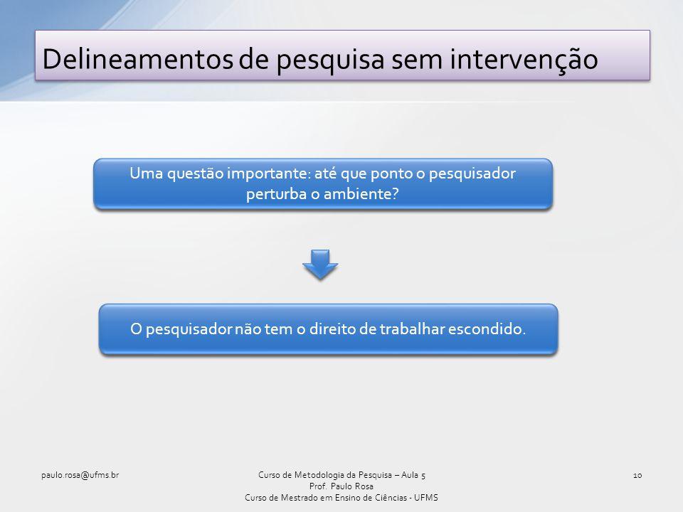 Delineamentos de pesquisa sem intervenção