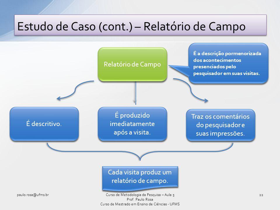 Estudo de Caso (cont.) – Relatório de Campo