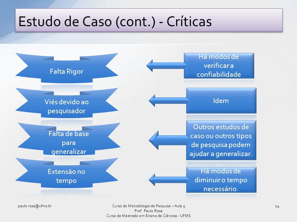 Estudo de Caso (cont.) - Críticas