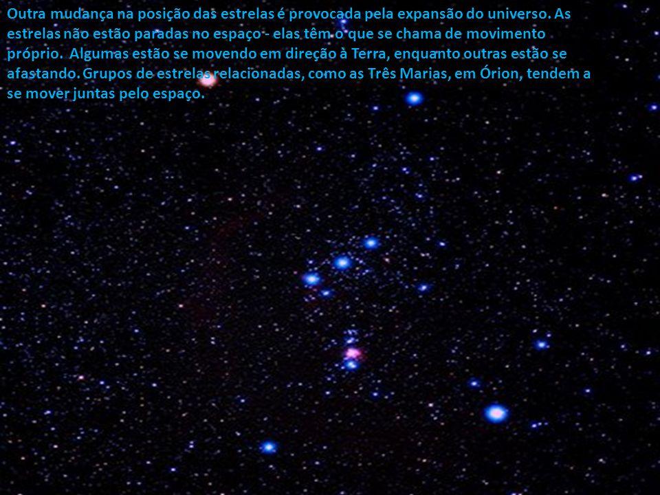 Outra mudança na posição das estrelas é provocada pela expansão do universo.