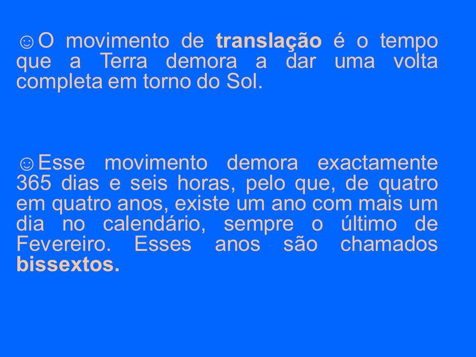 O movimento de translação é o tempo que a Terra demora a dar uma volta completa em torno do Sol.