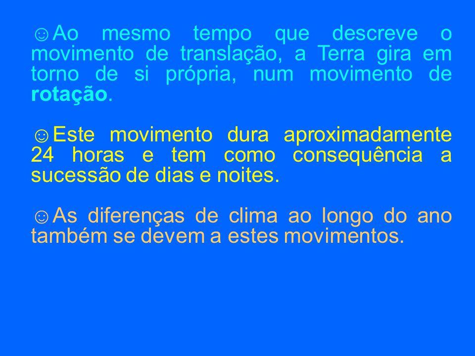 Ao mesmo tempo que descreve o movimento de translação, a Terra gira em torno de si própria, num movimento de rotação.