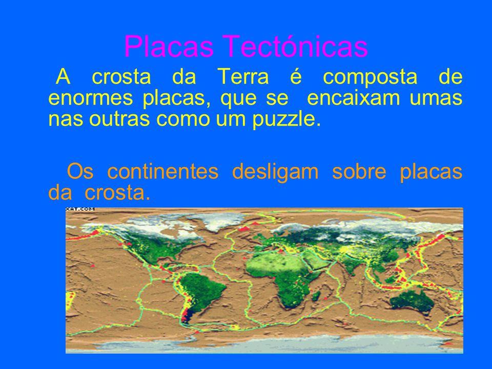 Placas Tectónicas Os continentes desligam sobre placas da crosta.