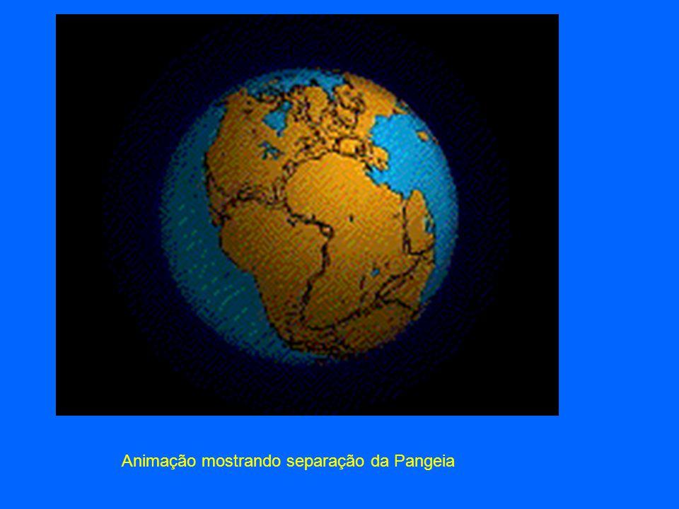 Animação mostrando separação da Pangeia