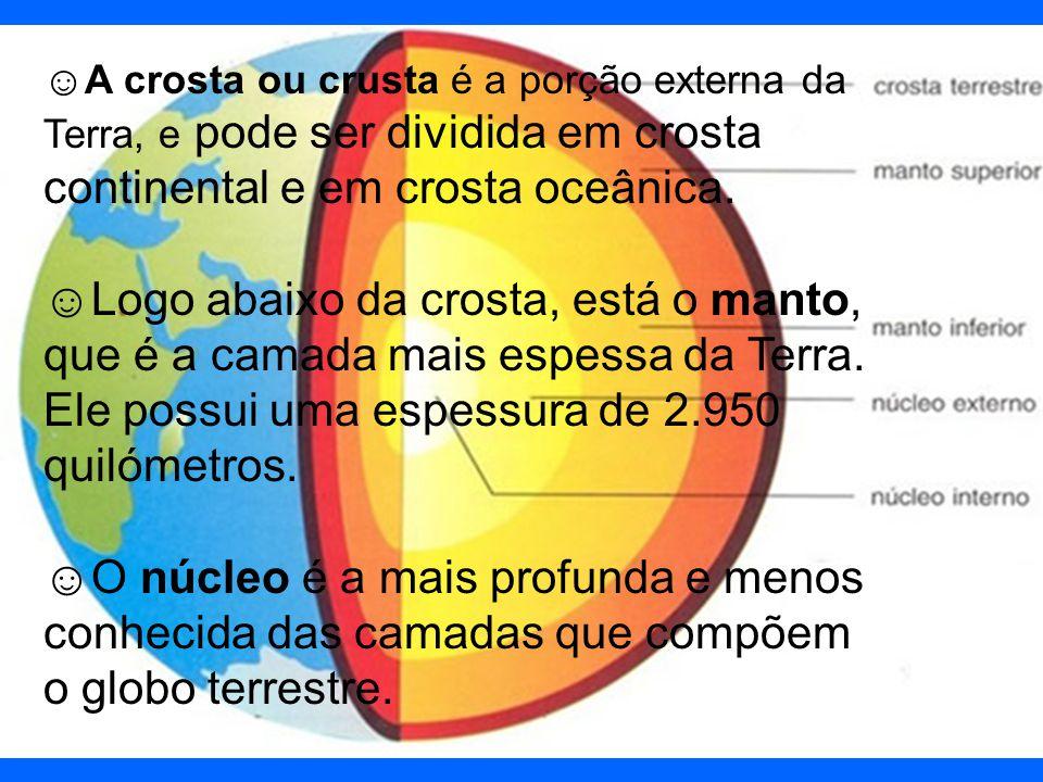 A crosta ou crusta é a porção externa da Terra, e pode ser dividida em crosta continental e em crosta oceânica.