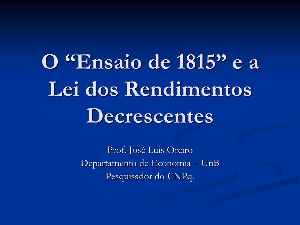 O Ensaio de 1815 e a Lei dos Rendimentos Decrescentes