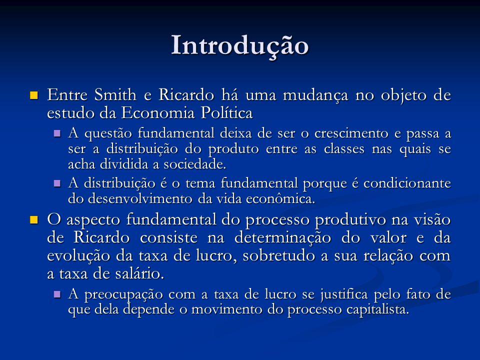 Introdução Entre Smith e Ricardo há uma mudança no objeto de estudo da Economia Política.