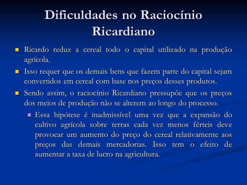 Dificuldades no Raciocínio Ricardiano