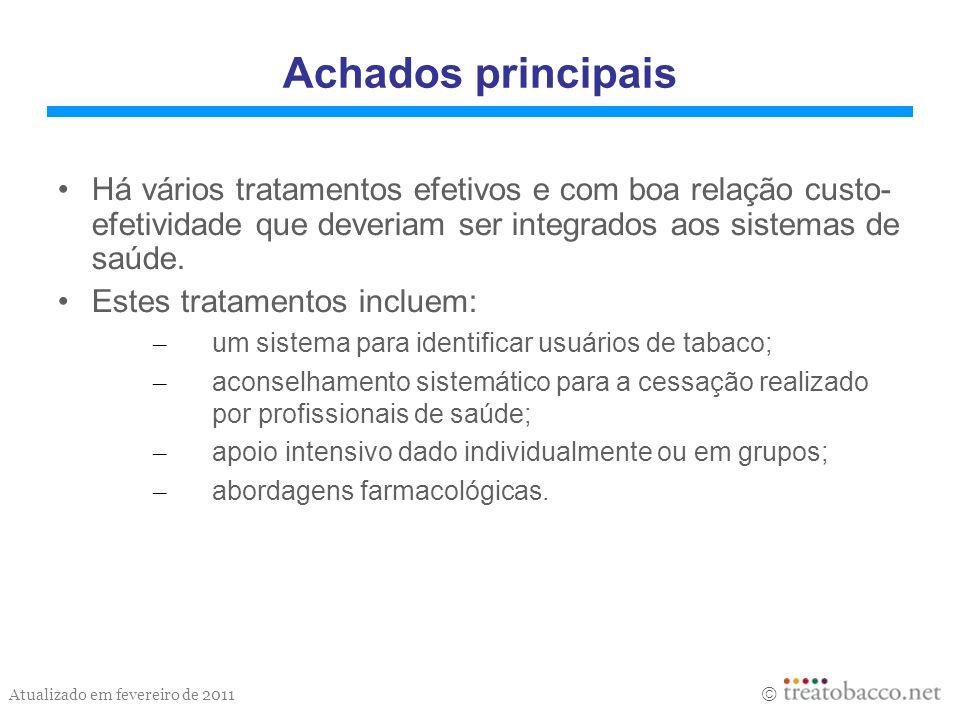 Achados principaisHá vários tratamentos efetivos e com boa relação custo- efetividade que deveriam ser integrados aos sistemas de saúde.