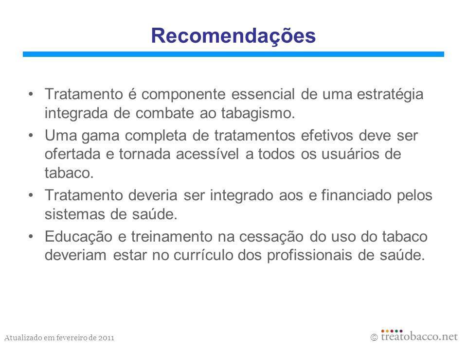 Recomendações Tratamento é componente essencial de uma estratégia integrada de combate ao tabagismo.