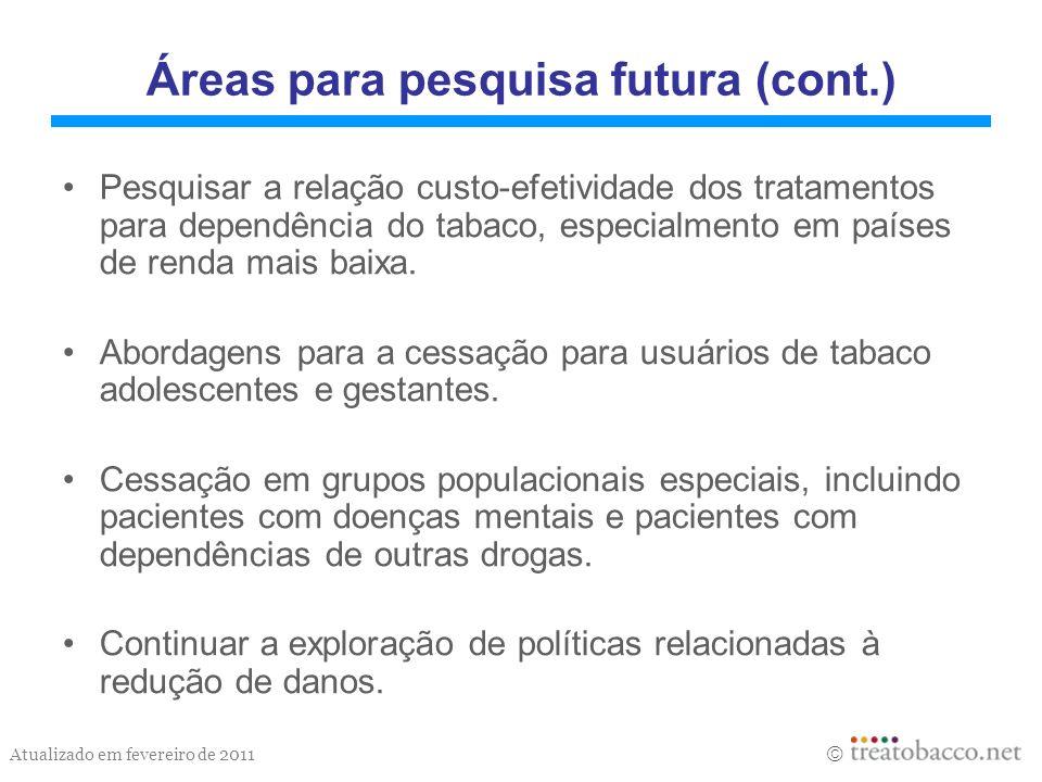 Áreas para pesquisa futura (cont.)