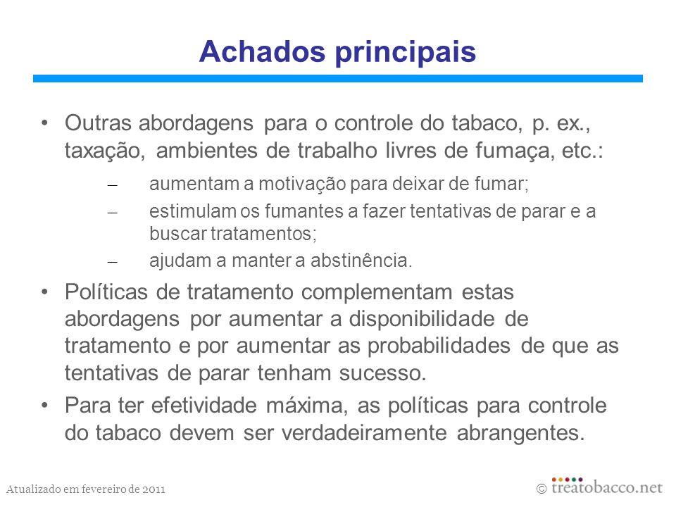 Achados principais Outras abordagens para o controle do tabaco, p. ex., taxação, ambientes de trabalho livres de fumaça, etc.:
