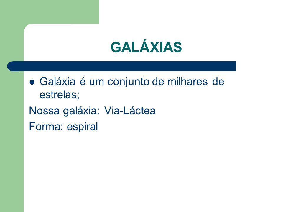 GALÁXIAS Galáxia é um conjunto de milhares de estrelas;